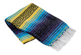 Turquoise Blue, Yellow and Dark Purple La Montana Mexican Blanket