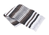 Brown, White and Black Vera Cruz Mexican Blanket