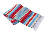 Red, Turquoise and Tan Vera Cruz Mexican Blanket