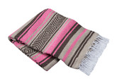 Pink, Tan and Brown Vera Cruz Mexican Blanket