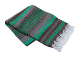 Kelly Green, Brown and Gray Vera Cruz Mexican Blanket