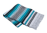 Turquoise, White and Black Vera Cruz Mexican Blanket