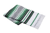 Kelly Green, White and Black Vera Cruz Mexican Blanket