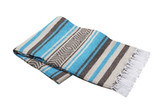 Turquoise, Brown and Tan Vera Cruz Mexican Blanket