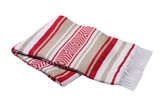 Red, Tan and White Vera Cruz Mexican Blanket