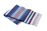 Purple, Royal Blue and White Vera Cruz Mexican Blanket