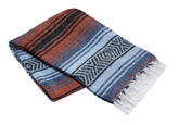 Slate Blue, Light Blue, and Terra Cotta La Montana Mexican Blanket