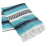 Turquoise, Dark Mint, and White Cozumel Mexican Blanket