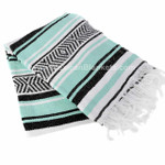 Mint, White and Black Vera Cruz Mexican Blanket