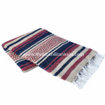 Burgundy, Navy, and Tan Vera Cruz Mexican Blanket