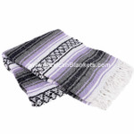 Light Purple, Charcoal, and White Cozumel Mexican Blanket