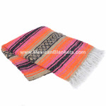 Hot Pink, Orange and Tan Cozumel Mexican Blanket