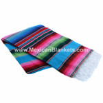 Authentic Mexican Serape Blanket - Turquoise