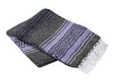 Dark Olive, Light Purple and Charcoal La Montana Mexican Blanket
