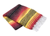 Red, Yellow and Burgundy La Montana Mexican Blanket