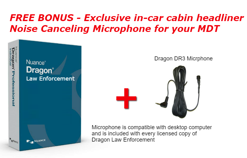 Dragon Law Enforcement voice recognition special microphone for police cars