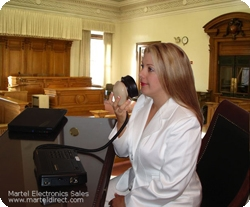 Court Reporter Stenomask in a courtroom