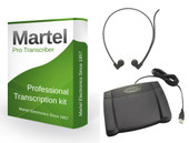 Professional Transcription software with USB 3 way foot pedal and headset
