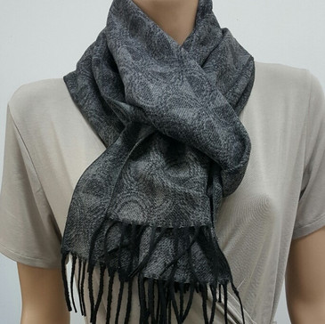 Wool/Bamboo Viscose /Polyester Winter Scarf {UNISEX} - Black / Grey