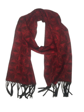 Wool/Bamboo/Polyester Winter Scarf {UNISEX} - Black / Red