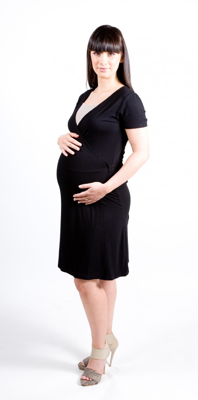 Black Wrap Dress, also great for maternity