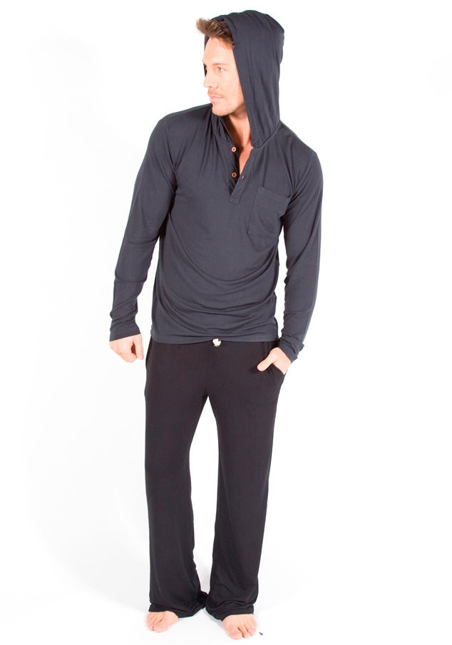 Men's Bamboo Hoodie - Pictured: Charcoal with Black Pants