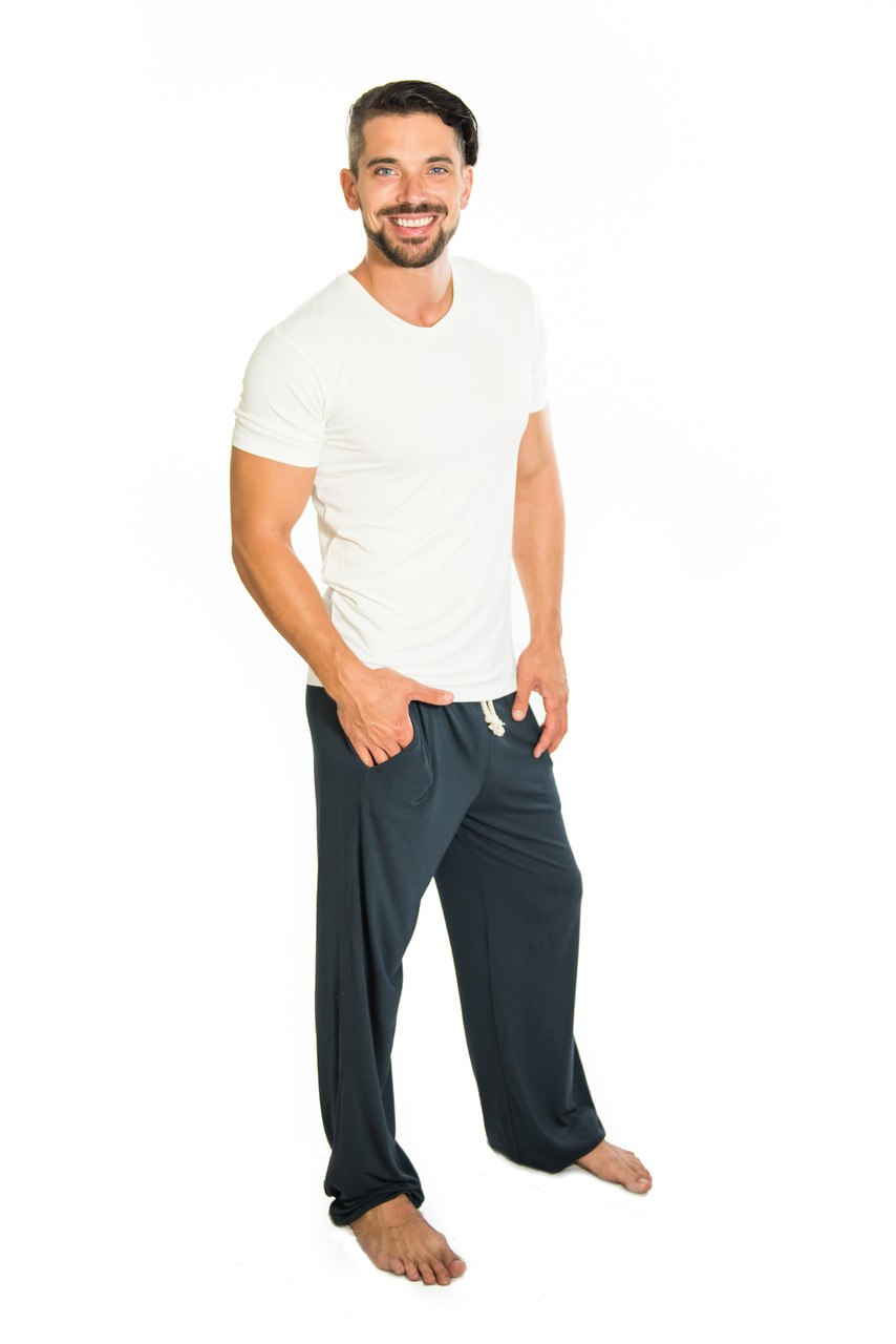 These bamboo pants make you feel happy-  they're loose and perfect for yoga or lounging around after a hard exercise session