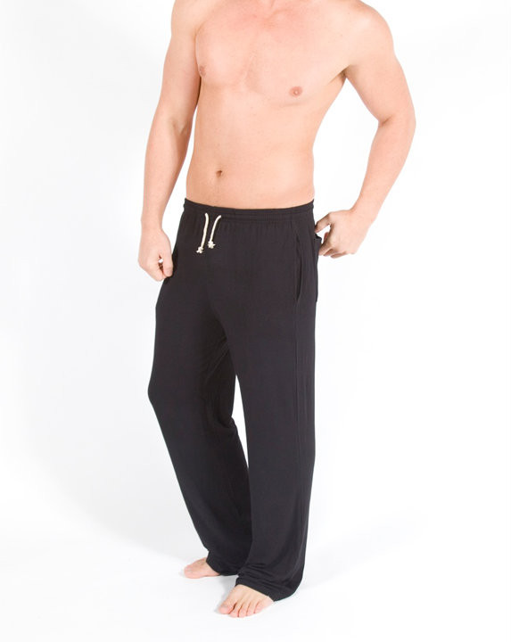 Men's Bamboo Lounge Pant side  - Pictured: Black