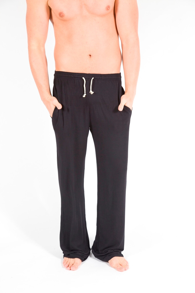 Men's Lounge Pant Front - Pictured: Black