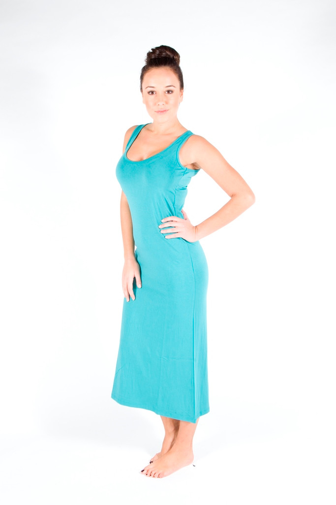 Teal Bamboo Maxi Dress