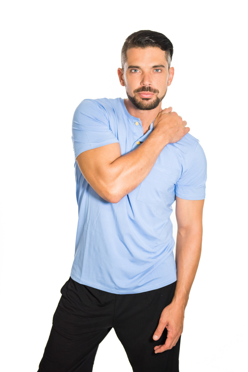 Mens bamboo henley in light blue