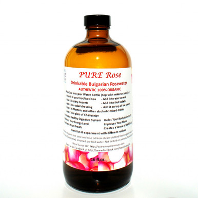 Pure Rose Drinkable Bulgarian Rose Water 16oz Royal