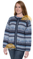 Alpaca Motif Crew Neck Zip-Up Cardigan with pockets - Alpaca Sweater - Alpaca Blend - Navy Blue Multi - 16261713