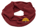 Diamond Honeycomb Stitch Infinity Alpaca Scarf made with 50% Alpaca Yarn - Neck Warmer - Dark Red and Burgundy - 16773567