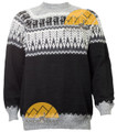 Alpaca Motif Fair Isle Sweater - Alpaca Pullover - Alpaca Sweater - Black - 16261715BK