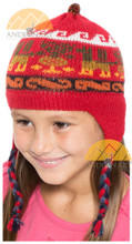 Ear Flap Alpaca Hat with Alpaca Motif for Children - Earth Color - 16752212