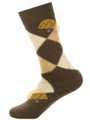 Argyle Alpaca Dress Socks - by AndeanSun - Brown with Camel and Beige Diamonds - 16711708