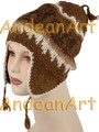 100% Alpaca CHULLO / Chuyo hat with ear flaps and Andean Motif (HandSpun - HandKnitted - UNDYED Natural Alpaca Colors) - Rustic Quality - 16752202
