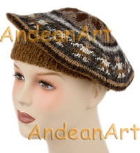 100% Alpaca BERET with Andean Motif (HandSpun - HandKnitted - UNDYED Natural Alpaca Colors) - Rustic Quality - 16762201