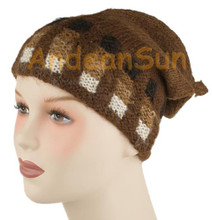 "100% Alpaca BEANIE Hat ""Blocks"" (HandSpun - HandKnitted - UNDYED Natural Alpaca Colors) - Rustic Quality - 16751708"