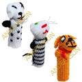 FP - Domestic Animals - RAW - Rustic Quality - Hand Knitted Finger Puppets - US STOCK
