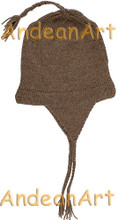 Double Knitted Ear Flap Alpaca Hat with Alpaca Motif - Natural Color - 16752207