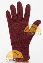 Classic Alpaca Gloves made with 100% Alpaca Yarn by AndeanSun - Burgundy and Black Heather  - 16783807