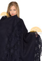 Alpaca Ruana / Cape with Hand Crocheted Flowers on Fringes - Alpaca Carrasco - Navy Blue - 16823501