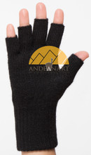 FINGERLESS Classic Alpaca Gloves Made with 100% Alpaca Yarn by AndeanSun - Black - 16783225