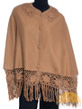 Short Alpaca Cape with Hand Crocheted Collar - Alpaca Carrasco - Camel - 16833525