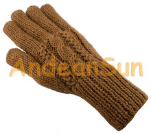 Trenza / Cable Double Knitted Alpaca Gloves - Natural Color - 16783002