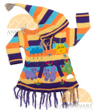 Children's Striped Hooded Sweater with Appliques - Bold - 16261730