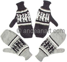 Mittens with Alpaca Motif - 16783202