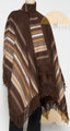 Long Alpaca Striped Poncho and BERET SET with Fringe - Woven - Brown Multi - 16863902